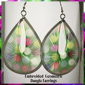 """🆒4"""" Threaded Embroided Hollow Geometric Earrings"""